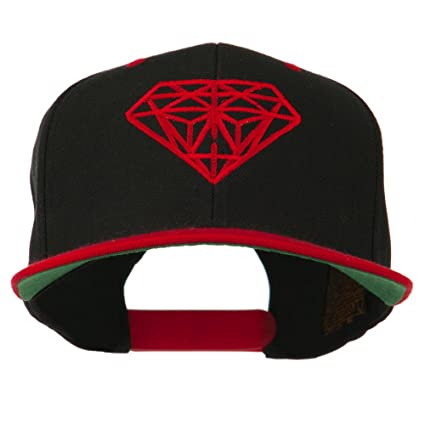 Diamond Embroidered Snapback Two Tone Cap - Black Red OSFM at Amazon Men s  Clothing store  6245e084dd36