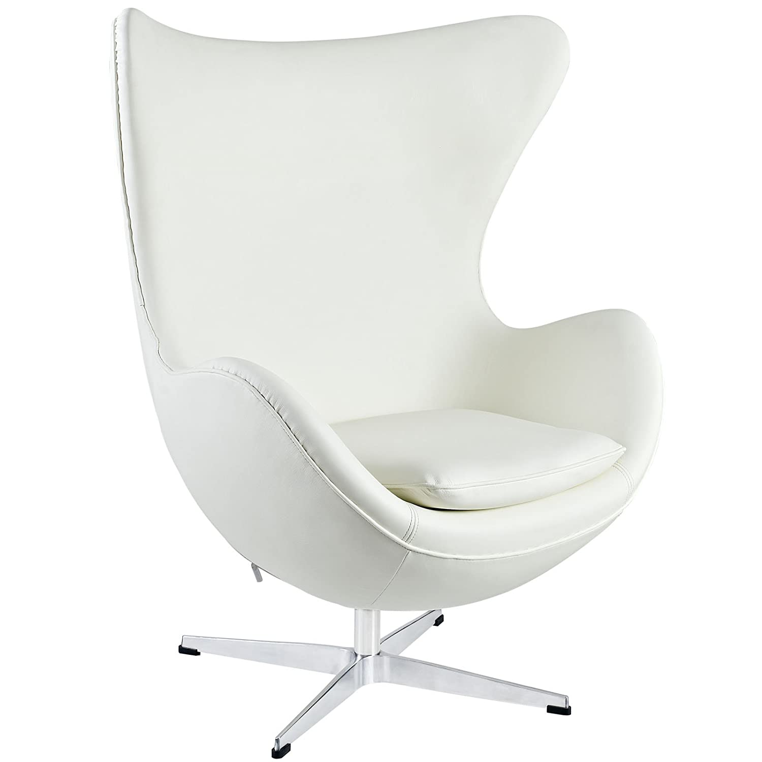 Arne jacobsen egg chair white - Amazon Com Modway Glove Leather Lounge Chair In White Kitchen Dining