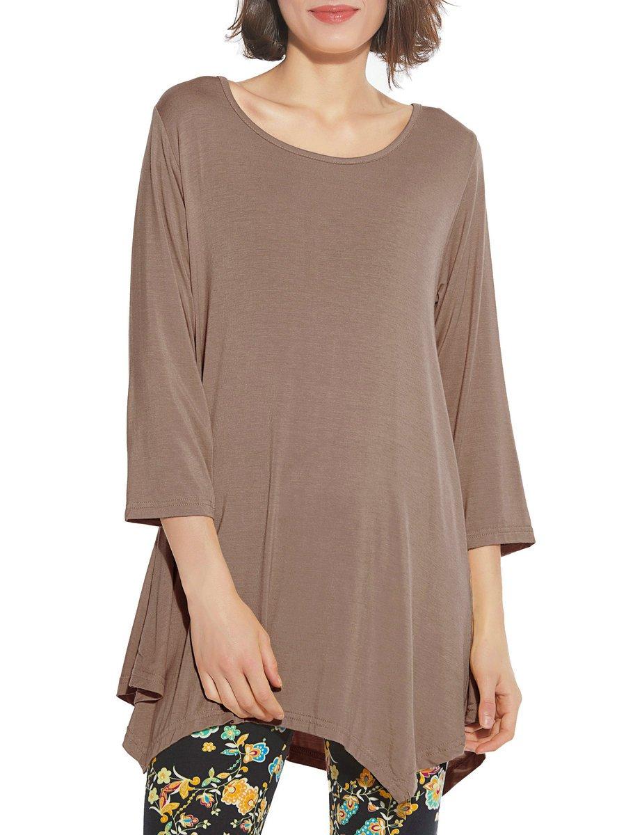 BELAROI Women 3/4 Sleeve Swing Tunic Tops Plus Size T Shirt (1X, Khaki)