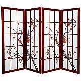Oriental Furniture 4 ft. Tall Cherry Blossom Shoji Screen - Rosewood - 4 Panels