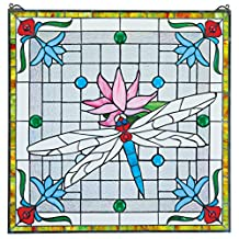 Design Toscano Dragonfly Pond Stained Glass Window, Full Color