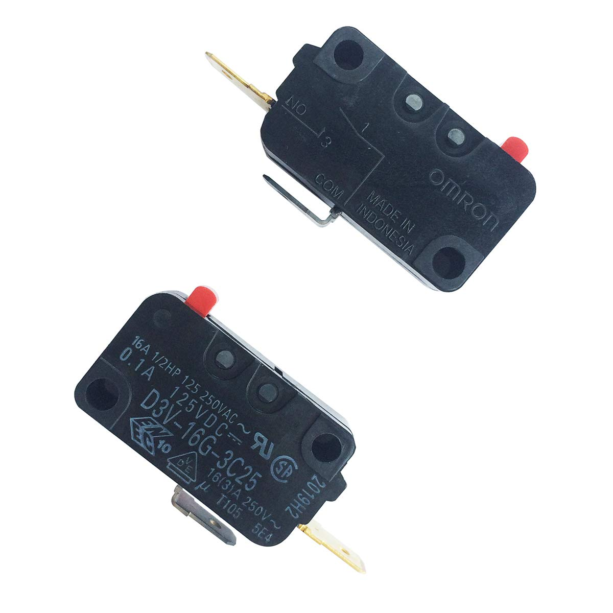 LONYE SZM-V16-FC-63 28QBP0497 Microwave Oven Door Micro Switch for Whirlpool Amana W10269460 PS2361113 AP4429920 V-16G-3C25-K(Normally Open)(Pack of 2)