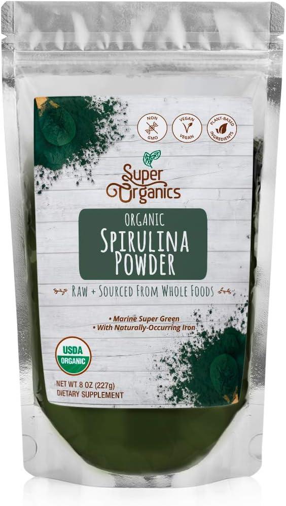 Super Organics Spirulina Powder | Naturally-Occurring Minerals – Organic, Vegan & Non-GMO, 8 Oz: Health & Personal Care