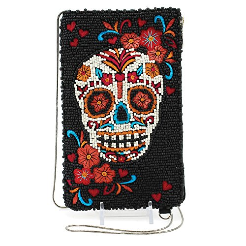 Beaded Cell Phone Case - MARY FRANCES Beaded Cross-Body Double Pocket Cell Phone/Glasses Pouches (Skull Flower)
