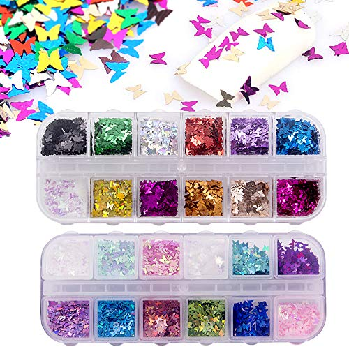 24 Color/set 3D Butterfly Nail Glitter Sequins, Kalolary Splarkly Laser Butterfly Nail Sequin Acrylic Paillettes, Holographic Nail Sparkle Glitter Sheets Tips for Nail Art Decoration Valentine's Day