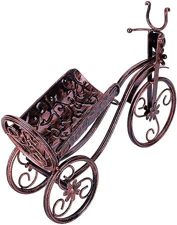 Soporte para botella de vino de metal, con forma de triciclo y estante de almacenamiento para el hogar, oficina, sala de estar, accesorios de decoración, color vintage (dorado)