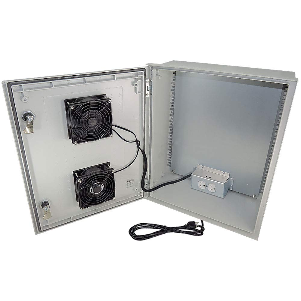 Altelix 20x16x8 FRP Fiberglass NEMA Weatherproof Enclosure with Dual Cooling Fans, Equipment Mounting Plate, Pre-Wired 120 VAC Outlets and 5 Foot 3-Prong Power Cord