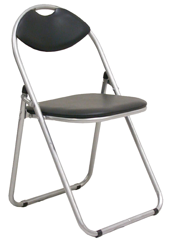 Juego de 4 sillas plegables acolchadas negras de metal con ...