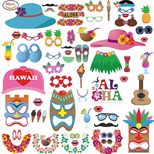 Photo Booth Props Luau Hawaiian Style DIY Kit for Beach Pool Parties, Wedding, Holiday, Summer,Tiki, Tropical, Birthdays, Graduation Party Decorations Supplies Game Favor Gifts