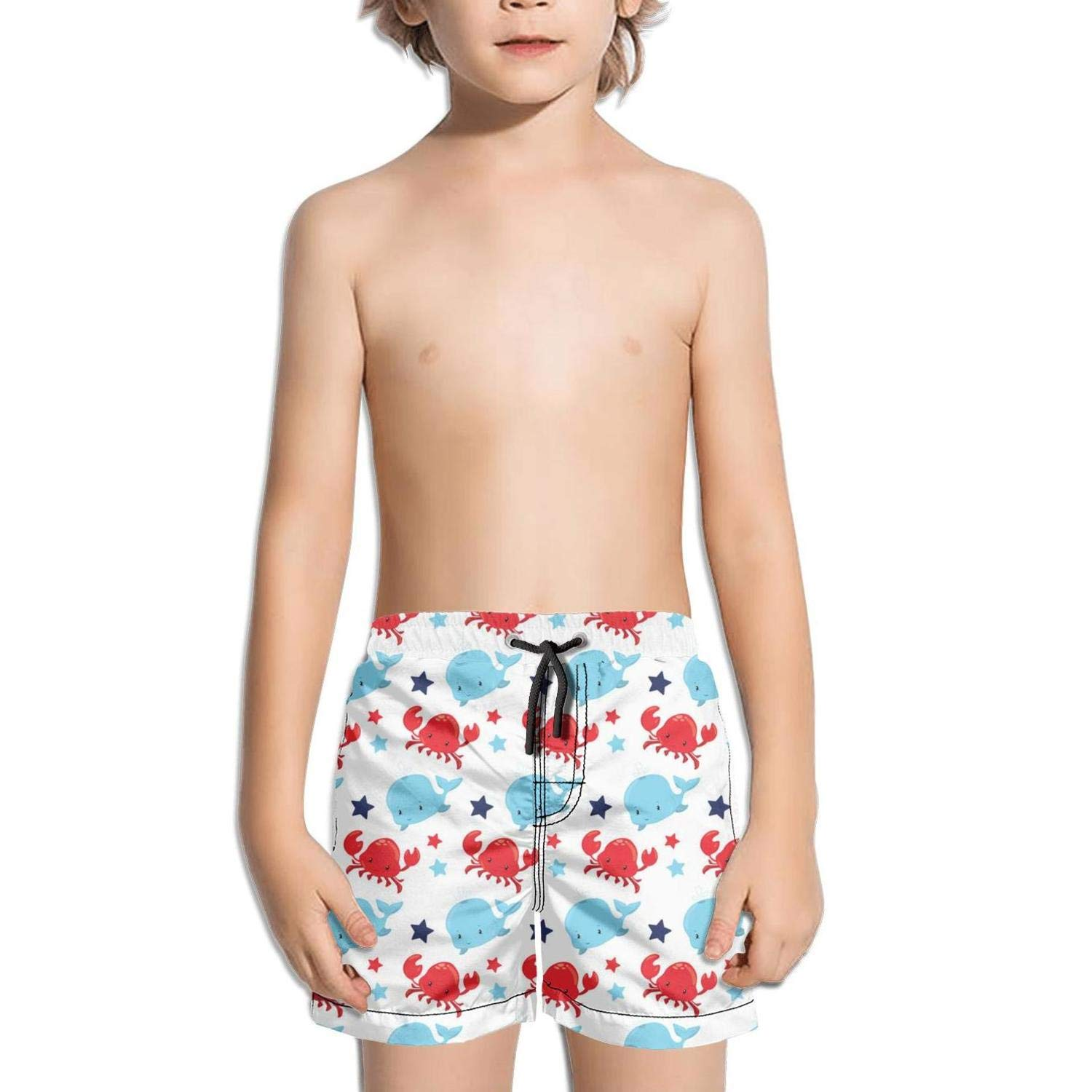 Lenard Hughes Boys Quick Dry Beach Shorts with Pockets Baby Whale and Crab Swim Trunks for Summer