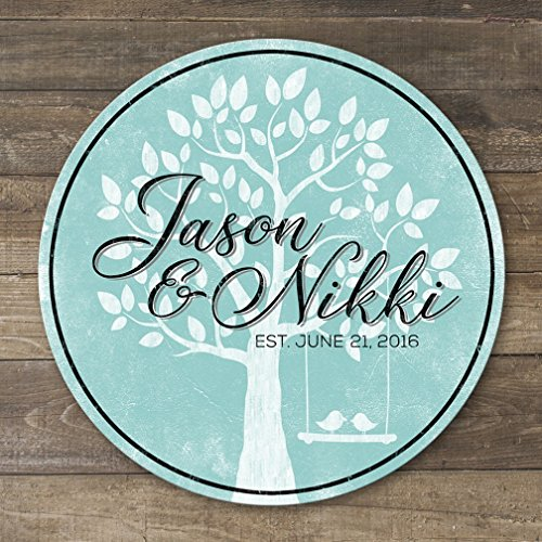 Personalized Wedding Anniversary Gift Wooden Family Name Sign With