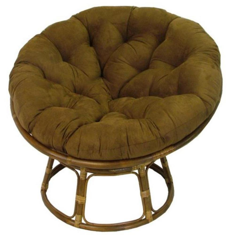 Engaging Rattan Papasan Chair With Comfy Turquoise Cushion Classic Design  With Many Different Versions On Beige Fur Rug Design Ideas