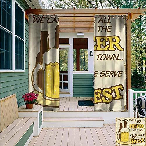 Beihai1Sun Outdoor Blackout Curtain,1950s Vintage Art Beer Glass Bottle,for Porch&Beach&Patio,W108x84L