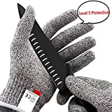 Cut Resistant Gloves High Performance Level 5 Protection Kitchen Comfortable Safety Work Gloves Food Grade for Kitchen Food Prep, Cutting, Oyster Shucking, Mandolin Slicing, Meat Cutting (L)