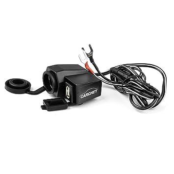 CARCHET® Enchufe Base de Cargador Adaptador Mechero USB para Moto Coche Móvil