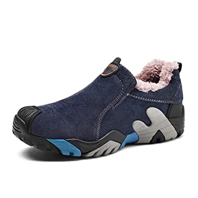 Qianliuk Männer Stiefel Leder Winter Schuhe Low Top Plüsch