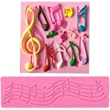 MagiDeal Set of 2Pcs Multi Music Note Lace Silicone Mold Fondant Mat Cake Decorating Tool