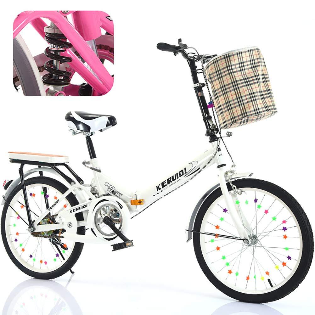 FJW Unisexo Bicicleta Plegable de suspensión 16 Pulgadas 20 Pulgadas Acero de Alto Carbono Marco Ultraligero Estudiante Niño Ciudad del Viajero Bicicleta,White,20Inch
