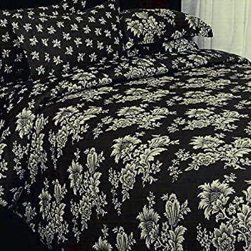 7pc french toile bedding black cream duvet cover set king