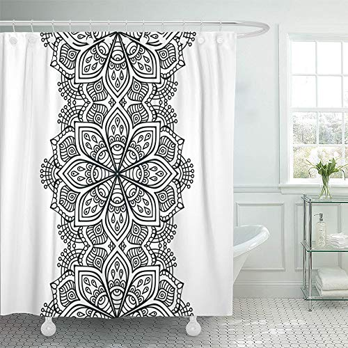 T/s Pakistan Green - Emvency Shower Curtain Set Waterproof Adjustable Polyester Fabric Mandala Indian Pattern Bohemian Mystical Arabic 66 x 72 Inches Set with Hooks for Bathroom