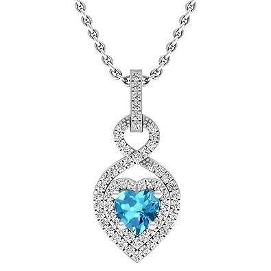 76d279f905f0 DazzlingRock Collection 14 K Oro 5 mm corazón Azul topacio   Diamante  Redondo Colgante de corazón