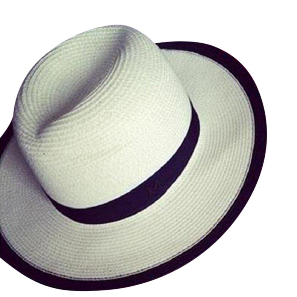 Moollyfox Mujer Verano Sombrero de Playa con Visera Pamelas de Paja Estilo Retro Moda Blanco