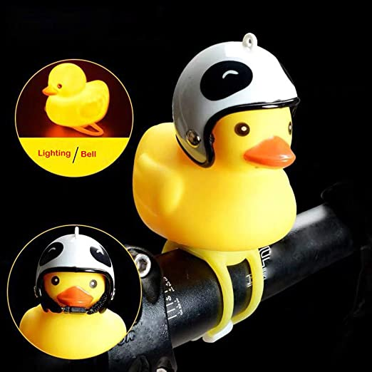 Cute Yellow Silicone Duck Bicycle Bell Light Head light Squeeze Scream Gift 2019