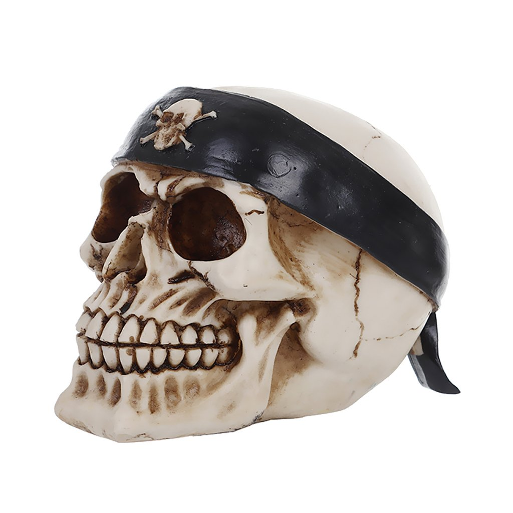 MagiDeal 3D Skeleton Skull & Head Band Model Head Bone Ornament Night Party Pub Bar Decorative Figurine Crafts