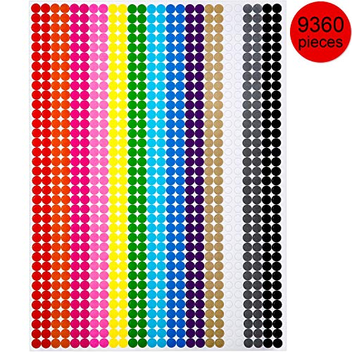 Boao Colored Round Dot Stickers Circle Dot Labels, Neon Colors Labels (9360 Pieces, 6 mm)]()
