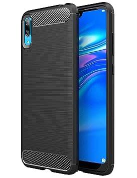 TTVie Funda para Huawei Y7 Pro 2019, Carcasa Caso Cubierta de Protección de TPU Silicona con Textura de Fibra de Carbono para Huawei Y7 Pro 2019 ...