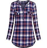 Women Blouse TUDUZ Ladies Casual Rolled Sleeve Tunic Tops Zipped V-Neck Plaid Printed Long Sleeve T Shirt