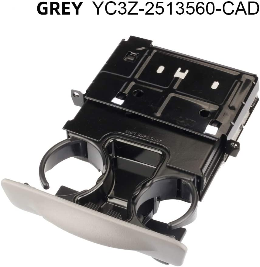 Dasbecan Replace Part YC3Z-2513560-CAD Dash Cup Gray Graphite Dashboard Pull Cup Holder for Ford F250/F350/F450/F550 Super Duty and Excursion