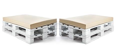 SUENOSZZZ-ESPECIALISTAS DEL DESCANSO Colchonetas para Sofas de Palet (2 x Unidades) Cojin Relleno con Espuma. Color Beige | Cojines para Chill out, ...