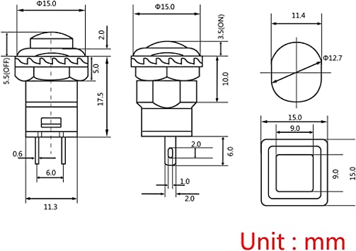 Momento nero Andux Zone Interruttore di Il giro accendere//vicino Interruttore di pulsante 12mm 20 pezzi ANKG-03