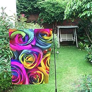 InterestPrint Happy More Custom - Rosas arcoíris para decoración del día de la madre, doble bandera de jardín de 30,5 x 45,7 cm