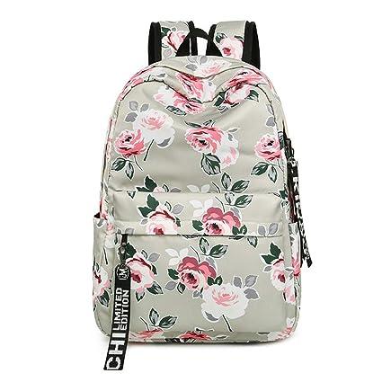 Surenhap Mochila Mujer Bolsa Lona Multi-Función Moda Mochila Bolsa Escolar Tipo Casual Floral Mujer