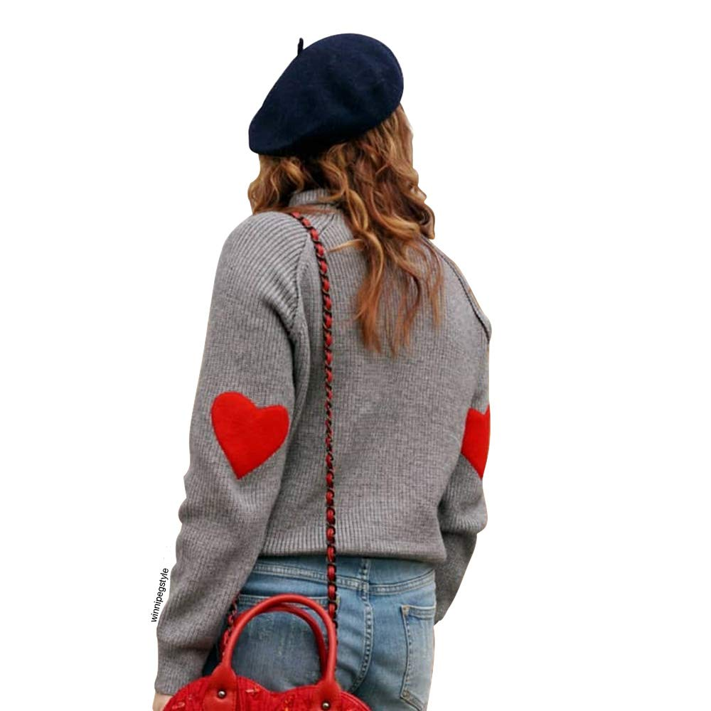 Chicwish Women's Comfy Casual Long Sleeve Heart Shape Patched Grey Knit Top Pullover Sweater