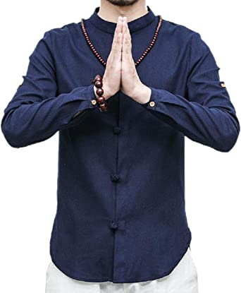 SHOWNO Mens Chinese Style Stand Collar Loose Cotton Linen Button Up Dress Shirt