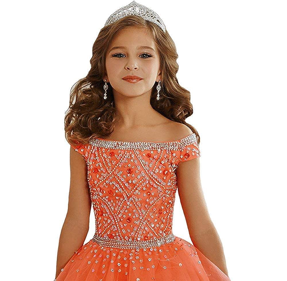 luolandi Flower GirlsBall Gowns Beaded Tulle Long Pageant Dresses