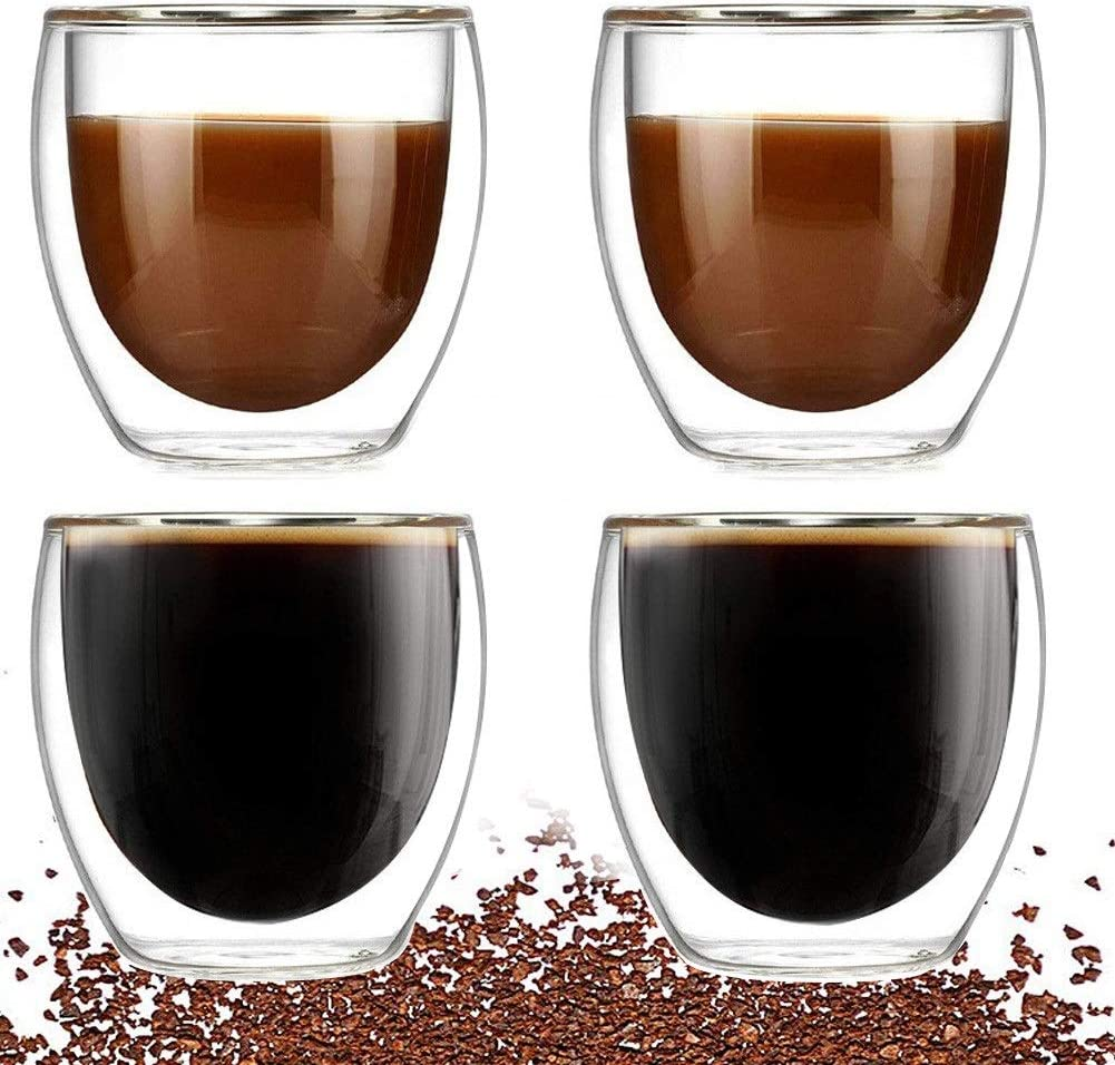 Double Walled Glass Coffee mugs, Set of 4 Glass Tea Cup,8oz/250ml Insulated Coffee Cups Perfect for Cappuccino, Macchiato, Latte, Tea, Juice, Iced& Hot Beverages