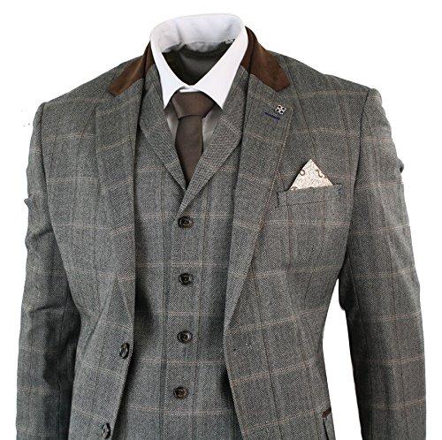 Pièces Homme Laine Clair Cintrée 3 Costume Coupe Marron Mélangée Tweed Beige Carreaux Rétro Style Vintage x4qSZBEwC