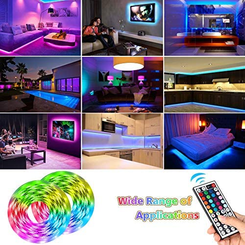 Led Strip Lights,UMICKOO 32.8feet 10m RGB 300LEDs Waterproof Light Strip Kits with Infrared 44 Key, Suitable for Room,TV, Ceiling, Cupboard Bar Home Decoration