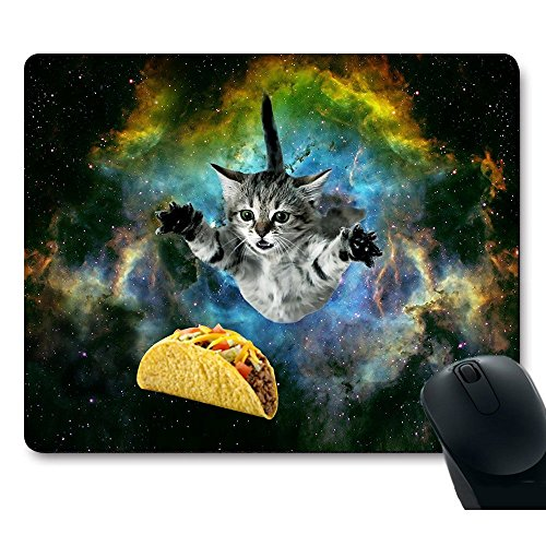 Mouse Pad Curious Cat Flying Through Space Reaching for a Taco Customized Non-Slip Rubber Mousepad Gaming Mouse Pad
