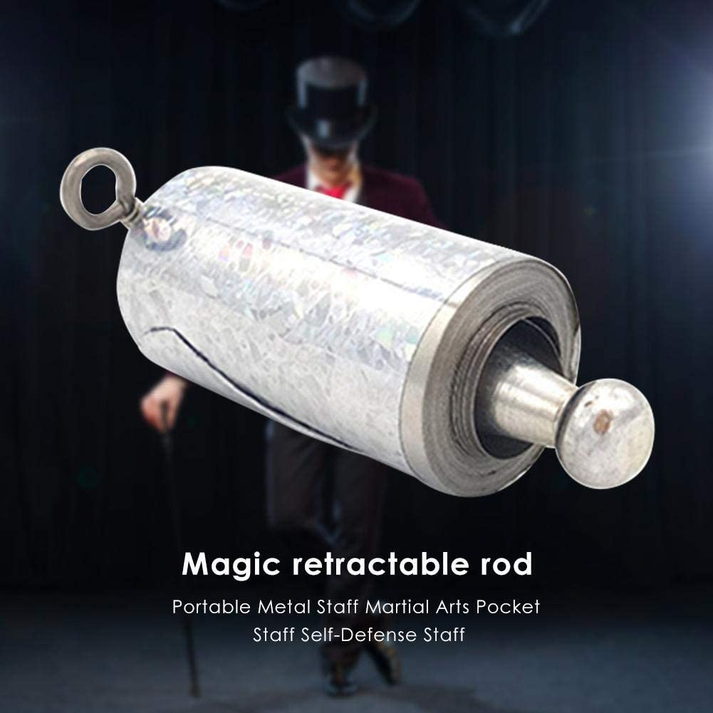 Collapsible Pocket Staff,Magic Cane Wand Collapsible Bo Staff Wizard Staff Props,PortableMetal Magic Pocket Props for Magician Role Play Props
