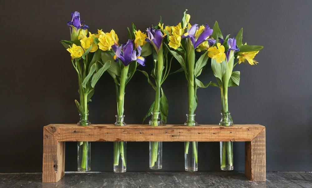 Handmade 24'' Reclaimed Pine Wood Bud Vase Stand , home & garden decor by Vault Furniture