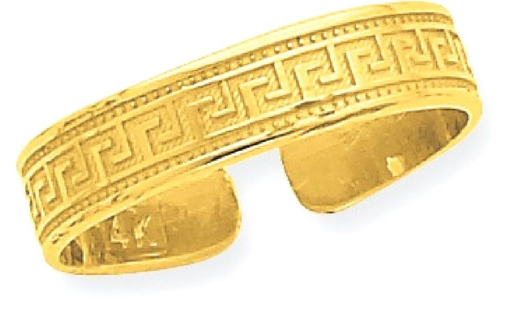 ICE CARATS 14k Yellow Gold Greek Key Adjustable Cute Toe Ring Set Fine Jewelry Gift Set For Women Heart