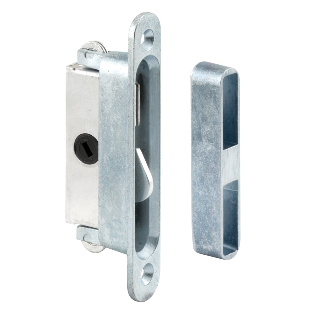 Prime-Line E 2079 Sliding Door Lock and Keeper Set, 3-7/8 in. Hole Centers, Anti-Lift Protection, Pack of 1