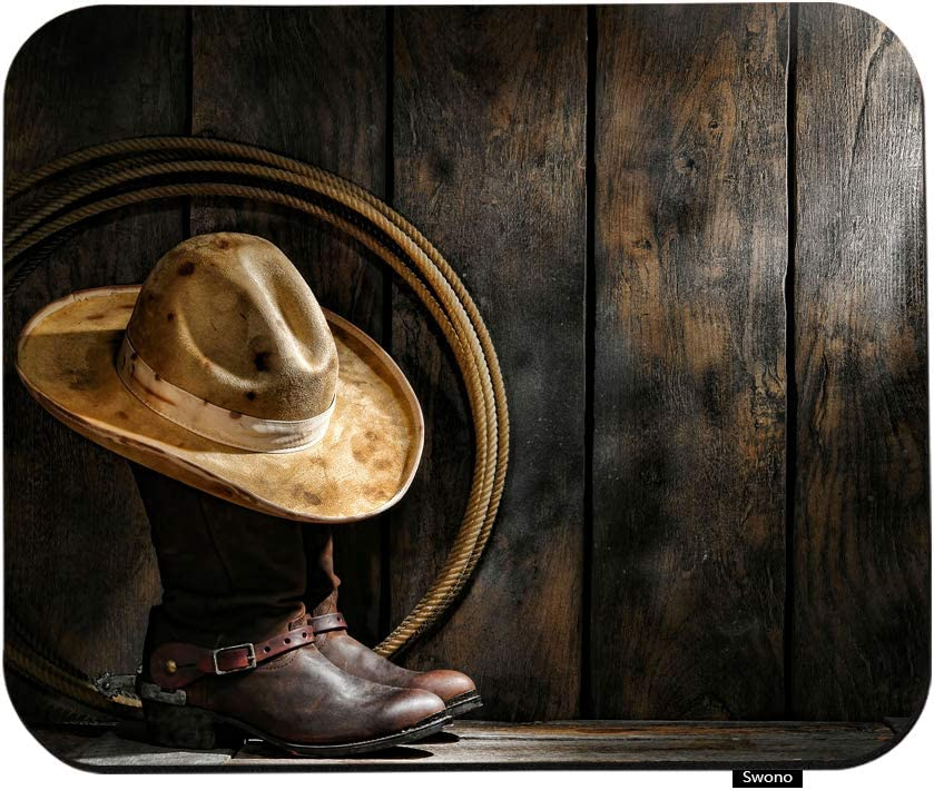 Swono West Rodeo Cowboy Mouse Pads American West Rodeo Cowboy Hat On Boots and Lariat Mouse Pad for Laptop Funny Non-Slip Gaming Mouse Pad for Office Home Travel Mouse Mat 7.9