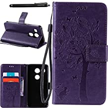 Nexus 5X Case, Linkertech [Stand Feature] PU Leather Wallet Case Flip Protective Cover with Card Slots & Wrist Strap for Google Nexus 5X by LG 5.2 Inch 2nd Gen Smartphone, DEEP PURPLE