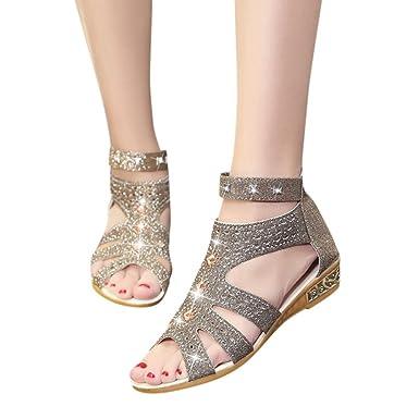 Damen PU-Leder Strandschuhe Sommerschuhe Sandaletten Keilabsatz Sandalen Pumps